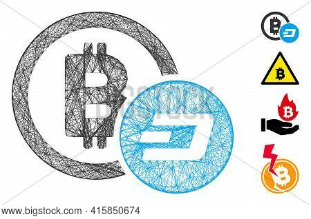 Vector Wire Frame Bitcoin And Dash. Geometric Wire Frame Flat Net Made From Bitcoin And Dash Icon, D