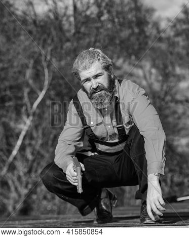Structural Sheathing. Fix Or Build. Roofer Repair Roof. Roof Installation. Bearded Man Work Outdoor.