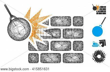 Vector Network Brick Wall Destruction. Geometric Hatched Frame 2d Network Made From Brick Wall Destr