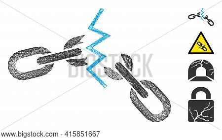 Vector Net Broken Chain. Geometric Hatched Carcass 2d Net Made From Broken Chain Icon, Designed From