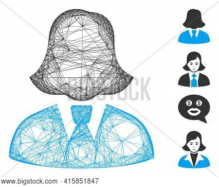 Vector Net Business Lady. Geometric Hatched Carcass 2d Net Generated With Business Lady Icon, Design