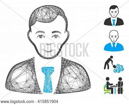 Vector Wire Frame Businessman. Geometric Wire Frame Flat Network Generated With Businessman Icon, De