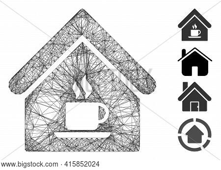 Vector Net Cafe House. Geometric Wire Frame 2d Net Generated With Cafe House Icon, Designed With Int