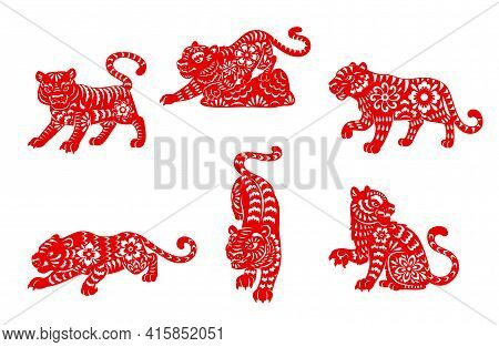 Zodiac Tiger Animal Papercut Vector Icons Of Chinese Horoscope. Red Papercut Horoscope Symbols Of Wi