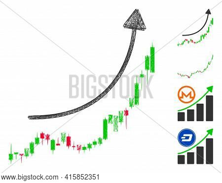 Vector Wire Frame Candlestick Chart Growth Trend. Geometric Wire Frame 2d Net Made From Candlestick