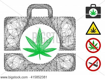 Vector Wire Frame Cannabis Case. Geometric Wire Frame 2d Net Based On Cannabis Case Icon, Designed F