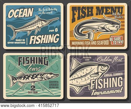 Fishing Sport Tackle, Fish And Seafood Vector Posters Of Fisherman Competition. Ocean Blue Marlin, B