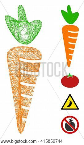 Vector Net Carrot. Geometric Linear Frame 2d Net Made From Carrot Icon, Designed From Intersected Li