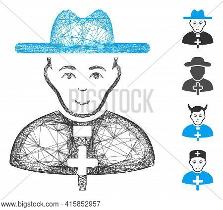 Vector Network Catholic Priest. Geometric Hatched Frame Flat Network Generated With Catholic Priest
