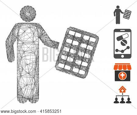 Vector Wire Frame Chemist With Blister. Geometric Wire Frame 2d Network Made From Chemist With Blist