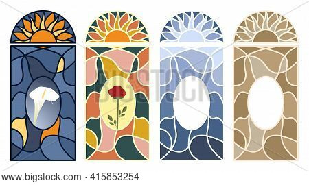 Stained Glass Window. Set Of Multi-colored Mosaic Pattern. Isolated Vector Illustration On White Bac