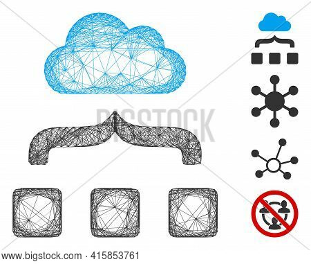 Vector Network Combine Cloud. Geometric Linear Carcass 2d Network Made From Combine Cloud Icon, Desi