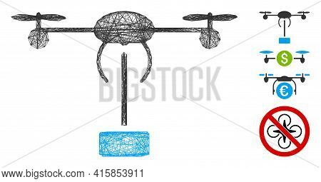 Vector Wire Frame Copter Shipment. Geometric Linear Frame 2d Net Generated With Copter Shipment Icon