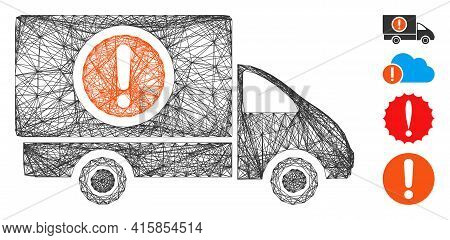 Vector Wire Frame Dangerous Truck. Geometric Wire Frame Flat Network Generated With Dangerous Truck