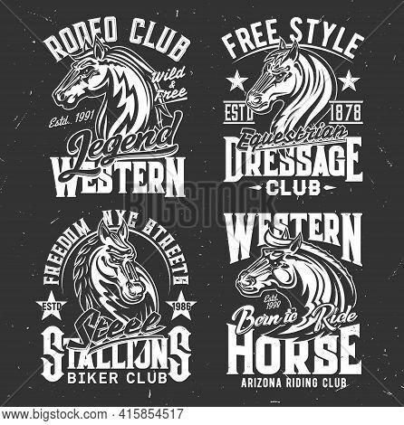 T-shirt Prints With Horse Stallion Heads, Racing Sport, Equestrian And Biker Club Vector Mascot. Mar