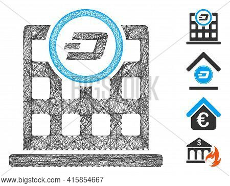 Vector Net Dash Corporation Building. Geometric Linear Frame Flat Net Made From Dash Corporation Bui