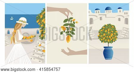 Vector Set Summer Vacation Theme And Inspiration. Beautiful Girl Collects Lemons From The Tree Into