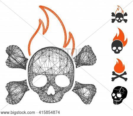 Vector Network Death Fire. Geometric Wire Carcass 2d Network Generated With Death Fire Icon, Designe