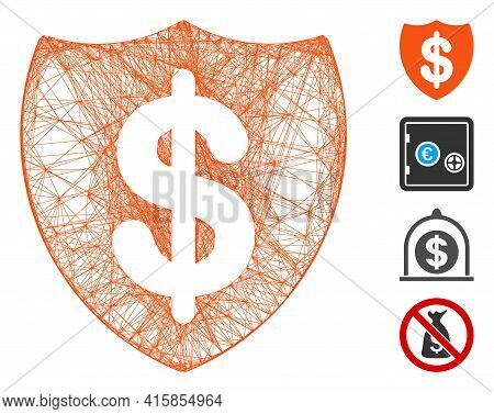 Vector Network Deposit Insurance. Geometric Hatched Carcass 2d Network Generated With Deposit Insura