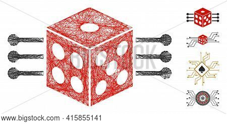 Vector Wire Frame Dice Links. Geometric Hatched Frame Flat Net Generated With Dice Links Icon, Desig