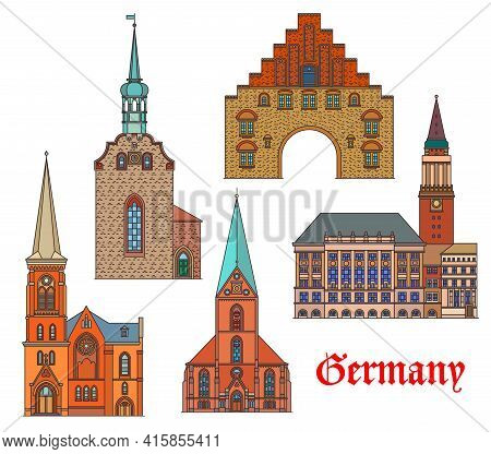 Germany Landmarks, Architecture Buildings, Vector German City Cathedrals And Churches. St Nikolai Ki