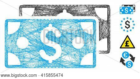 Vector Wire Frame Dollar Banknotes. Geometric Linear Frame Flat Net Generated With Dollar Banknotes