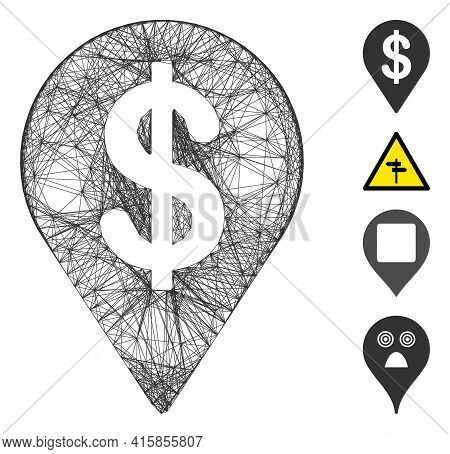 Vector Wire Frame Dollar Map Pointer. Geometric Wire Frame 2d Network Made From Dollar Map Pointer I