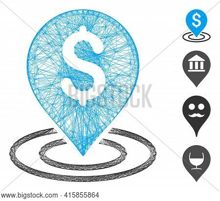 Vector Net Dollar Place. Geometric Hatched Carcass Flat Net Generated With Dollar Place Icon, Design