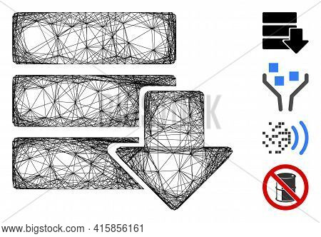 Vector Wire Frame Download Database. Geometric Linear Frame Flat Net Generated With Download Databas