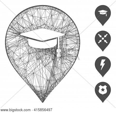 Vector Wire Frame Education Marker. Geometric Wire Frame 2d Network Made From Education Marker Icon,