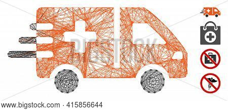 Vector Network Emergency Car. Geometric Wire Carcass 2d Network Generated With Emergency Car Icon, D