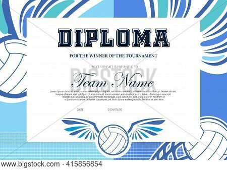 Certificate For Volleyball Tournament Winner. Sports Club Diploma Vector Template. Sport Award And A