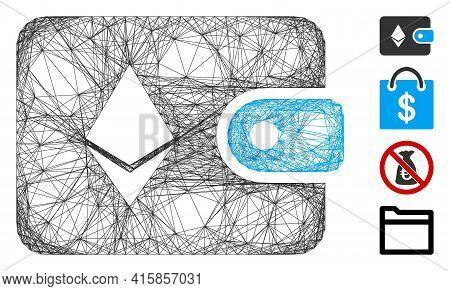 Vector Wire Frame Ethereum Billfold. Geometric Wire Frame Flat Network Made From Ethereum Billfold I