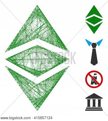 Vector Wire Frame Ethereum Classic. Geometric Linear Frame 2d Net Generated With Ethereum Classic Ic