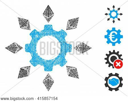 Vector Net Ethereum Configuration Gear. Geometric Linear Carcass 2d Net Made From Ethereum Configura