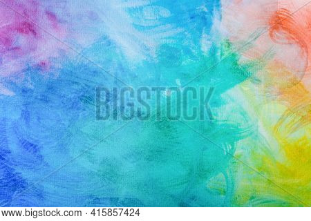 Multicolored  Watercolor Background  Hand Painted With Brush