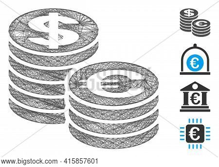 Vector Wire Frame Euro And Dollar Coin Columns. Geometric Wire Frame 2d Network Made From Euro And D