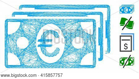 Vector Wire Frame Euro Banknotes. Geometric Wire Frame 2d Network Made From Euro Banknotes Icon, Des