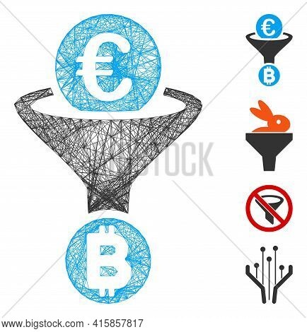 Vector Network Euro Bitcoin Conversion Funnel. Geometric Wire Frame 2d Network Generated With Euro B