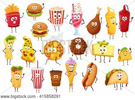 Fast Food Cartoon Characters. Vector Burgers, Drinks And Desserts. Pizza, Hamburger And Hot Dog Sand