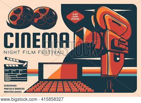Cinema Night Film Festival Vector Retro Poster With Movie Theatre Hall, Vintage Video Camera, Film R