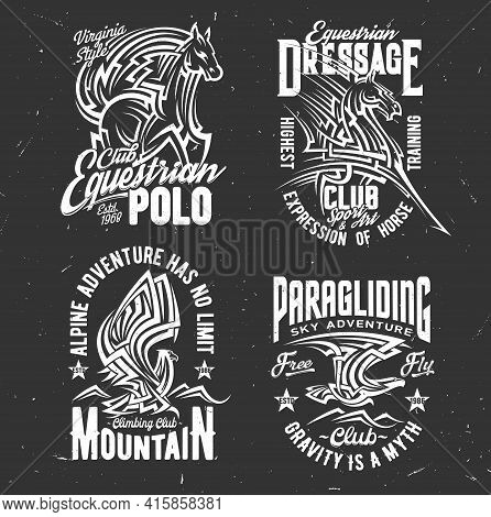 T-shirt Prints With Horse And Eagle. Vector Mascots Of Equestrian, Climbing And Paragliding Club App
