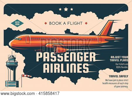 Passenger Airline Tickets Booking Service Vintage Vector Poster. Airliner Flying In Sky, Airport Tow