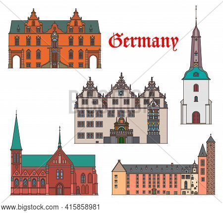 Germany Travel Landmarks Architecture Of Schleswig Holstein, Cathedral And Church Buildings, Vector.