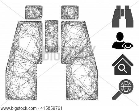 Vector Wire Frame Find Binoculars. Geometric Linear Frame 2d Net Made From Find Binoculars Icon, Des