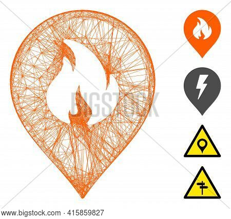 Vector Net Fire Marker. Geometric Linear Carcass Flat Net Made From Fire Marker Icon, Designed From