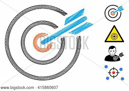 Vector Network Goal Arrow. Geometric Wire Carcass Flat Network Made From Goal Arrow Icon, Designed F