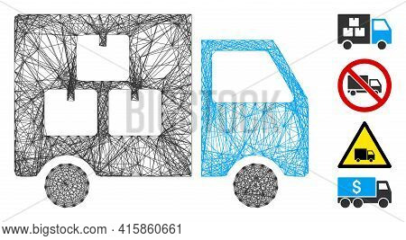 Vector Network Goods Transportation Car. Geometric Linear Carcass Flat Network Generated With Goods