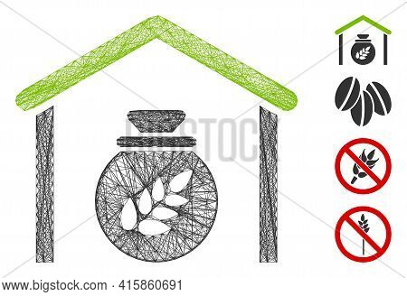 Vector Wire Frame Grain Storage. Geometric Linear Frame Flat Network Made From Grain Storage Icon, D