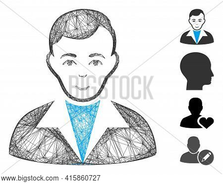 Vector Wire Frame Guy. Geometric Wire Frame Flat Net Generated With Guy Icon, Designed With Crossing